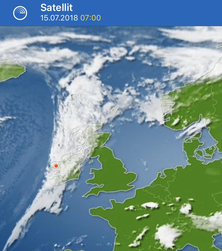 Heutige Wetteraussichten (der rote Punkt sind wir ?)