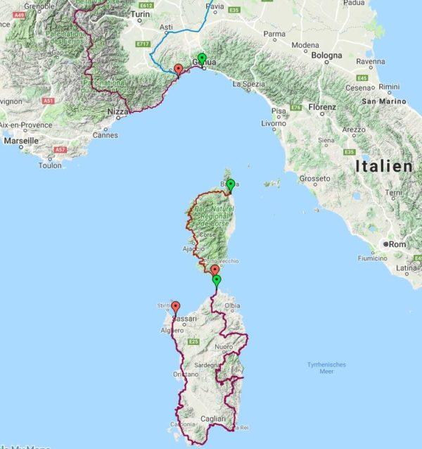Tourplanung Korsika/Sardinien