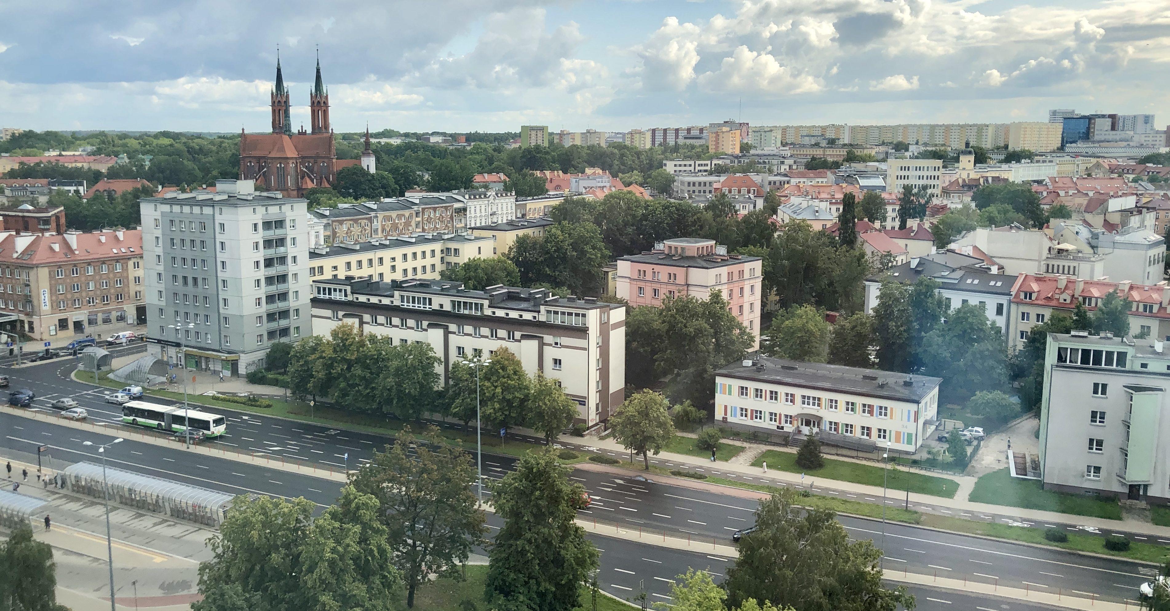 Blick vom Hotel auf das Centrum von Bialystok