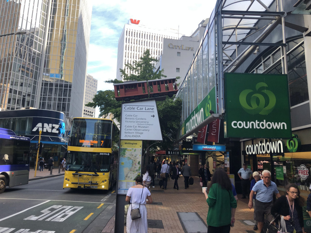 Wegweiser zur Cable Car Bahn in Wellington