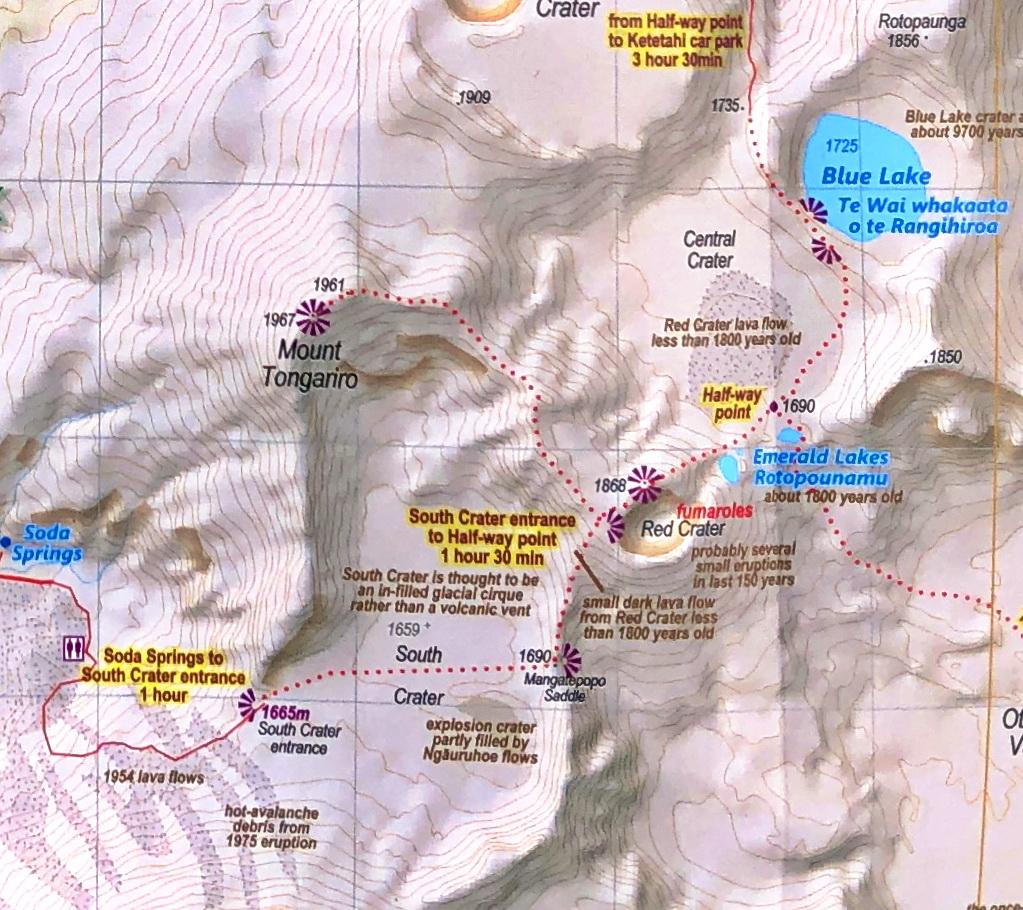 Wanderkarte des Tongariro Alpine Crossing