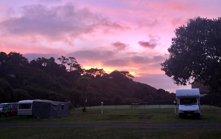 Letzter Sonnenuntergang in Neuseeland