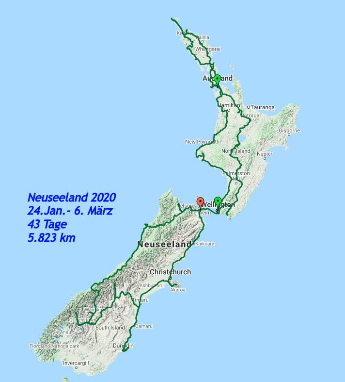 Gesamte Tour Neuseeland