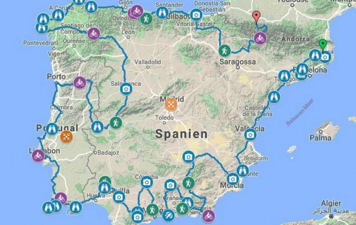 Tourplanung Spanien-Portugal 2017