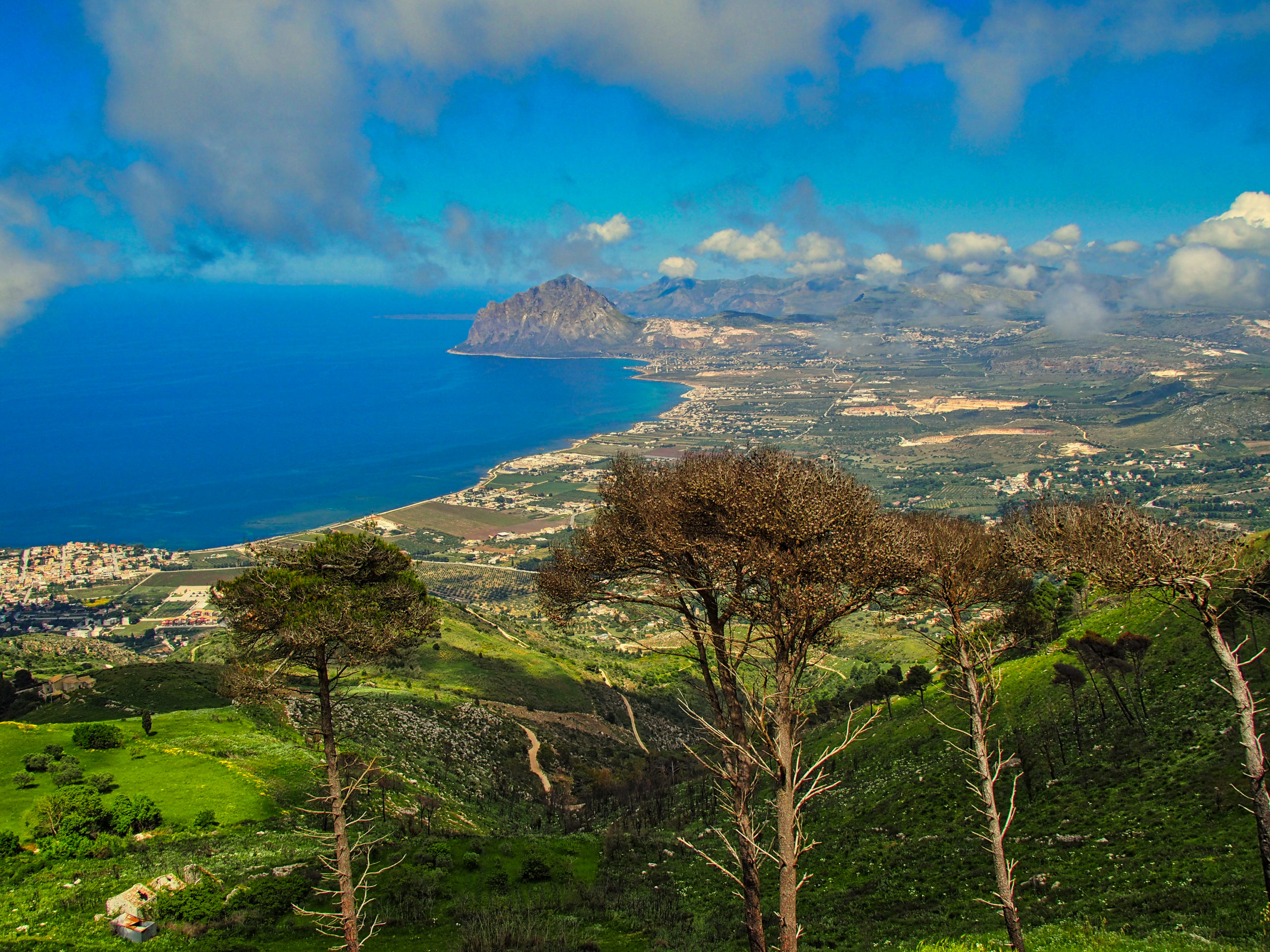 Blick von Erice auf den Golfo di Bonagia