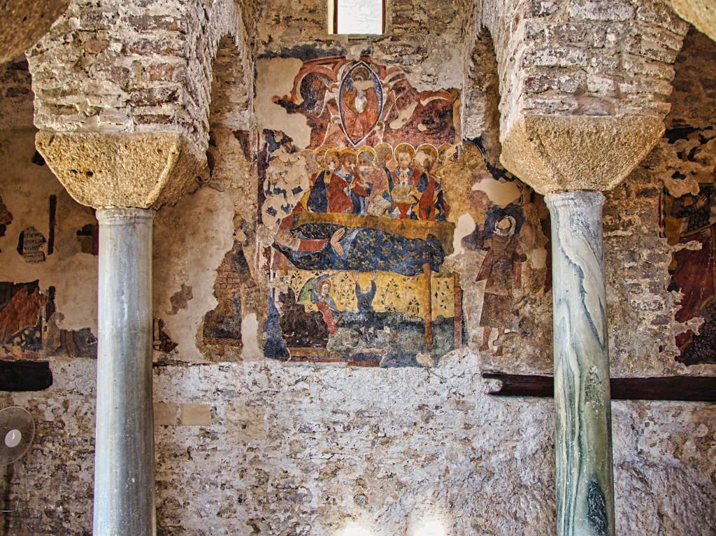 Freske an einer Wand der Cattolica di Stilo
