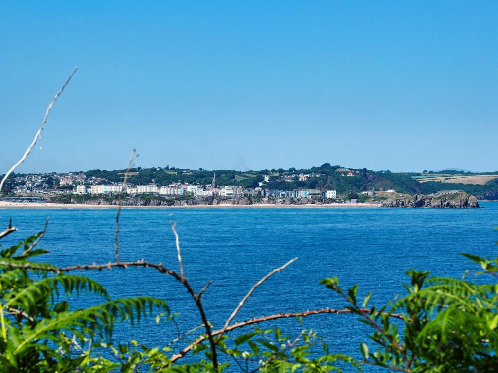 Blick von Insel Caldey auf den Ort Tenby