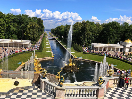 Peterhof: Blick vom Großen Palast auf den Samson-Brunnen
