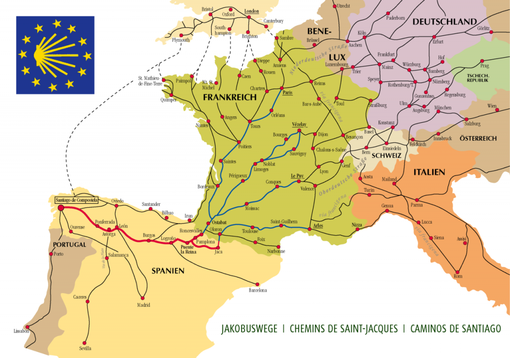 Jakobswege in Europa (Bild von Manfred Zentgraf, Volkach Germany)