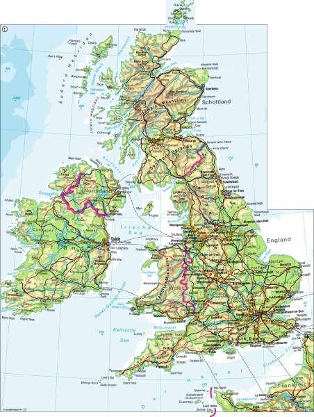 Diercke Weltatlas physisch Darstellung Großbritannien und Irland (Quelle: Westermann Verlag)