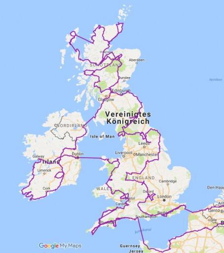 Gefahrene Route durch Großbritannien und Irland