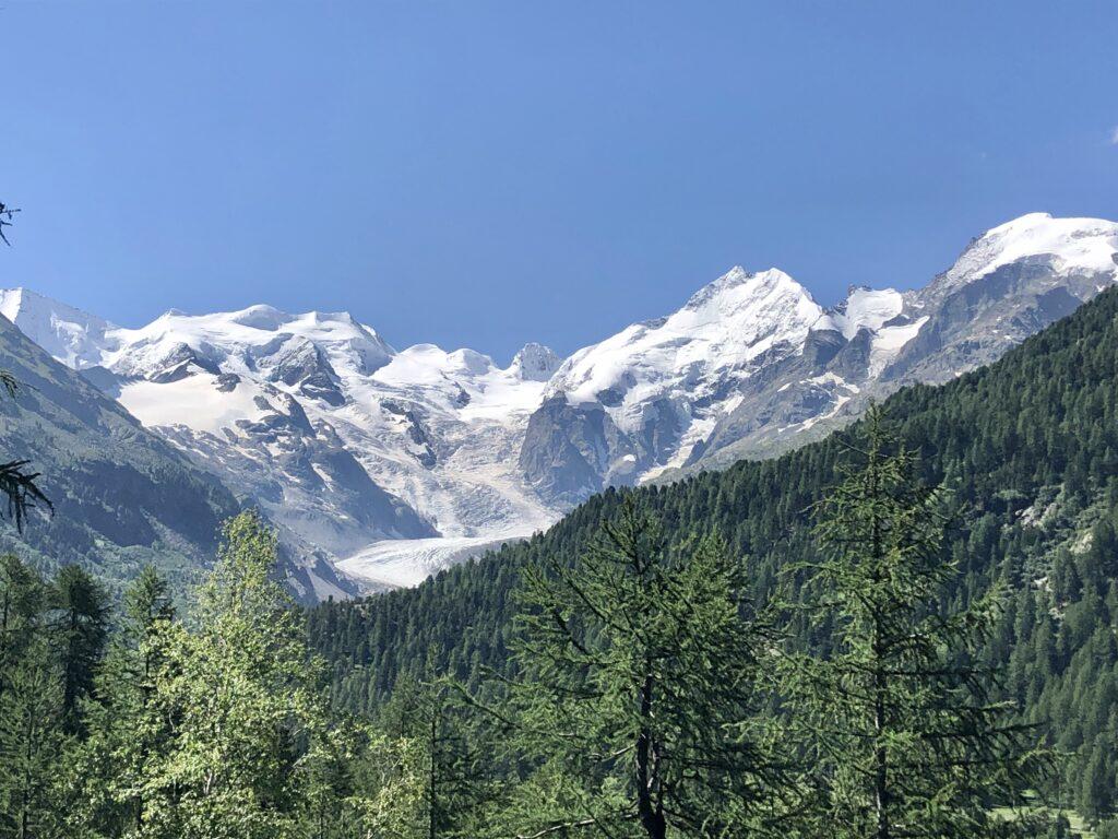 Der nächste Morgen: Aussicht auf den Morteratsch-Gletscher
