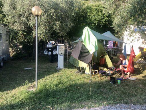 Unser Platz am Campeggio Olivelle nahe Iseo