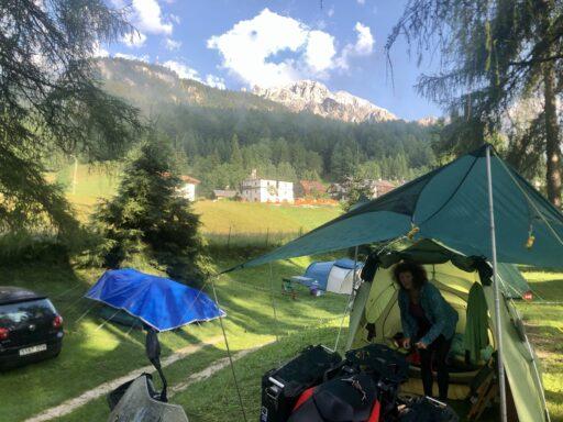 Morgens am CP in Cortina