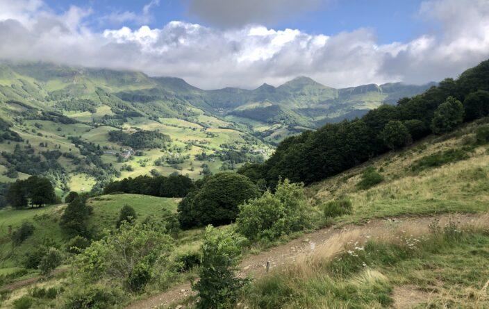 Talblick im Monts du Cantal nahe Mandailles-Saint-Julien auf der D317